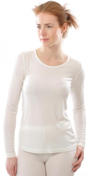 Langarm-Shirt 100% Bio-Seiden-Ripp