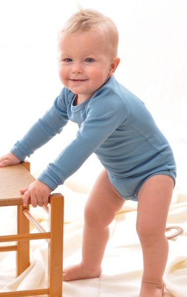 Baby Schlupfbody langarm BioWolle/BioSeide