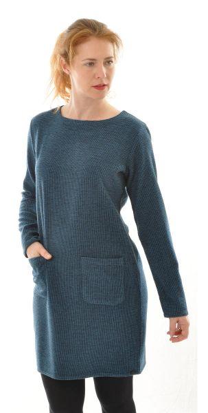 Langarm Kleid aus Seide-Wolle