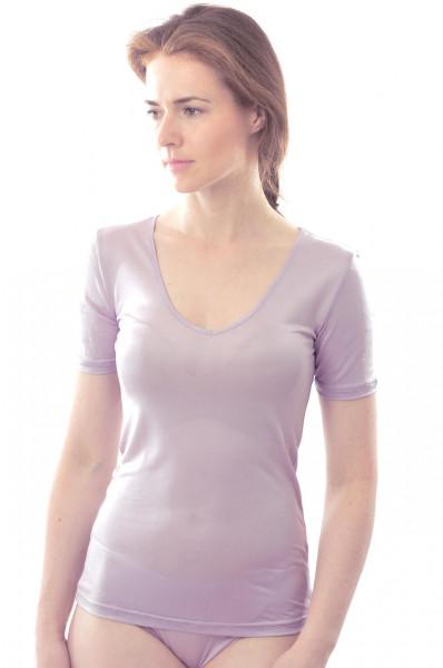 T-Shirt mit V-Ausschnitt aus Bio Seidenjersey